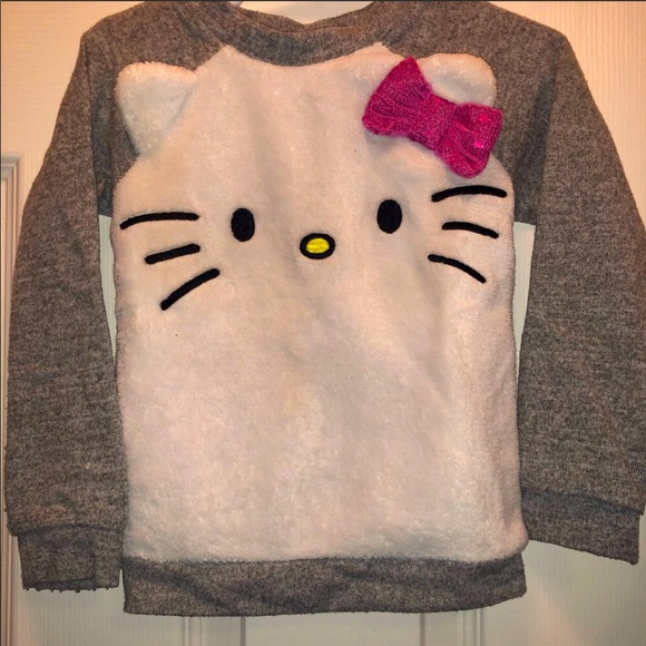Toddlers plush hello kitty pullover sweater